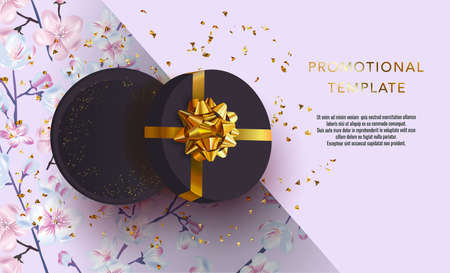 Holiday background promotional template. Women's day sale template. Decorative gift box with gold bow top view. Floral pattern. Standard-Bild - 164741893