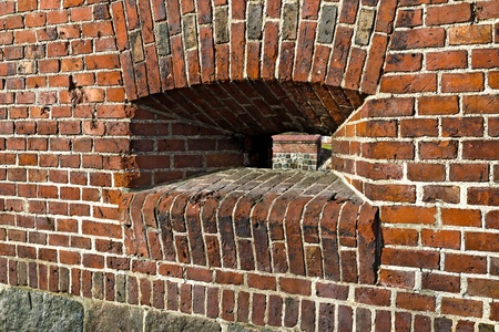 embrasure: Wall of the old German Fort with embrasure Stock Photo
