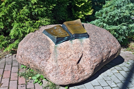 mann: Monument to Thomas Mann in the form of an open book, Svetlogorsk  until 1946 Rauschen , Kaliningrad oblast, Russia