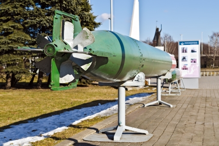 undermine: Soviet anti-ship combined cycle torpedo, rear view, Museum of the World ocean, Kaliningrad  Koenigsberg before 1946 , Russia Stock Photo