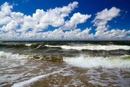 landfall: Baltic sea and Cumulus clouds Stock Photo