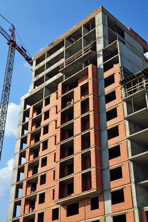 Construction house and crane photo