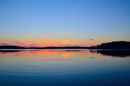 lull: Evening calmness. Lake Engozero, North Karelia, Russia
