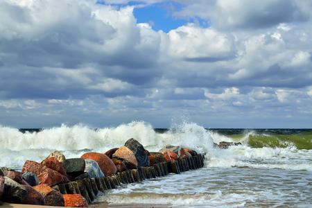 landfall: Beautiful stormy Baltic sea in Sunny summer day
