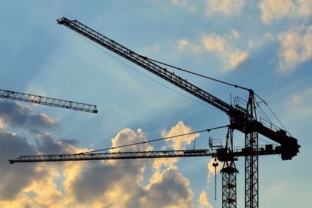 Silhouettes of construction cranes photo