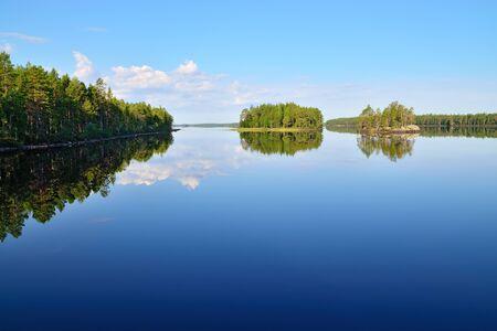 stillness: Morning stillness. Lake Engozero, North Karelia, Russia Stock Photo