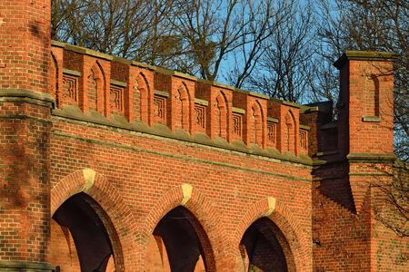 parapet wall: Rossgarten Gate - fortified strengthening of Koenigsberg. Kaliningrad (until 1946 Koenigsberg), Russia