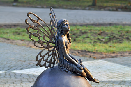 butterfly myth: Sculpture Forest fairy. Park Central, Kaliningrad, Russia Stock Photo