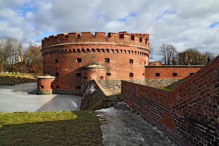 embrasure: Defensive tower Der Dohna. Kaliningrad (formerly Koenigsberg), Russia