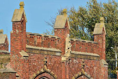 parapet wall: Friedland gate - fortifications of Koenigsberg, neo-gothic 19th century. Kaliningrad (Koenigsberg before 1946), Russia Stock Photo