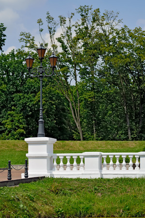 balustrade: Beautiful white balustrade in the old Park Stock Photo