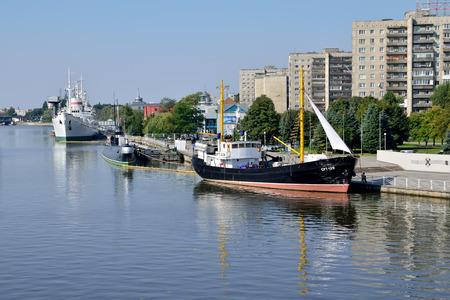 pioneers: Embankment of Peter the Great. Kaliningrad, Russia Editorial