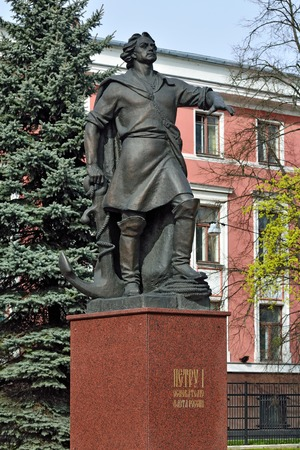founder: Monument to Peter the Great, the founder of the Russian fleet. Kaliningrad (Koenigsberg before 1946), Russia