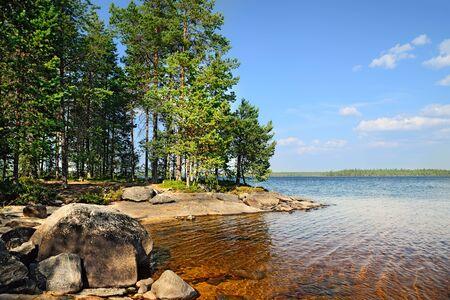 windless: Karelian landscape. Lake Engozero, North Karelia, Russia
