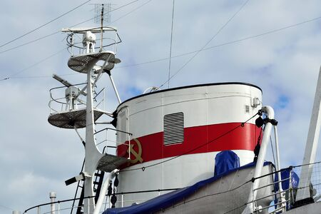 superstructure: Tube and mast of the ship closeup Stock Photo
