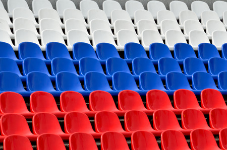 grandstand: Empty grandstand with Seating in the colors of the Russian flag
