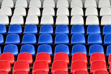 Empty grandstand with Seating in the colors of the Russian flag