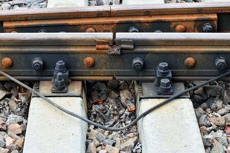 sleepers: The rail and concrete sleepers close up