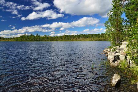 karelia: Karelian landscape. Pongoma River, North Karelia, Russia
