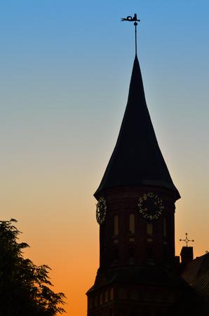 14th century: Tower of Koenigsberg Cathedral at sunset. Gothic 14th century. Symbol of the city of Kaliningrad (Koenigsberg before 1946), Russia Stock Photo