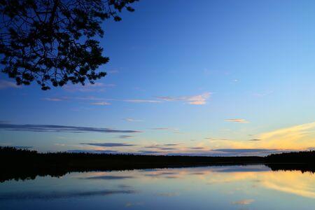 karelia: Romantic sunset, Lake Pongoma. North Karelia, Russia