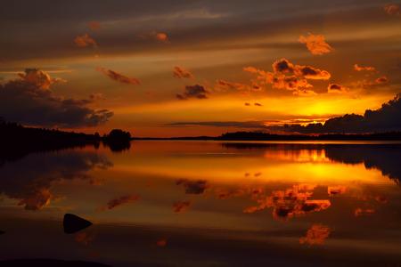lake sunset: Beautiful fiery sunset. Lake Pongola, Northern Karelia, Russia