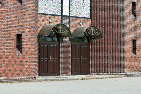 ourdoor: Church of the Cross, main entrance. Kaliningrad until 1946 Koenigsberg. Russia