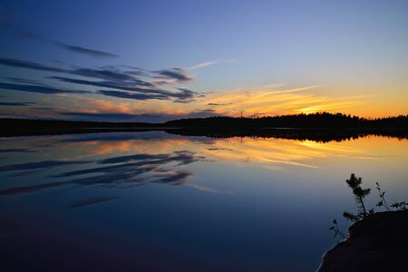 windless: White nights on the lake Pongoma. Karelia, Russia