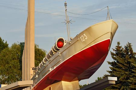 earlier: Torpedo boat, the monument to Baltic seamen. Kaliningrad (earlier Konigsberg), Russia