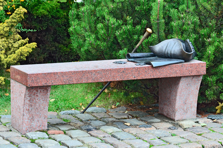 immanuel: Bench Kant. Kaliningrad Konigsberg before 1946, Russia