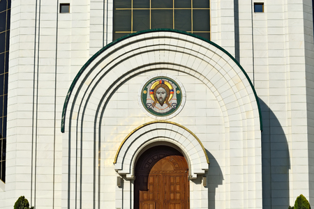 saviour: Cathedral of Christ the Saviour, fragment of the facade. Kaliningrad formerly Koenigsberg, Russia Stock Photo