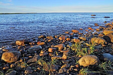 karelia: White sea shore on a summer evening. Karelia, Russia