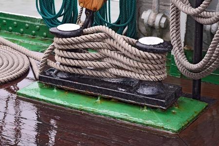 cordage: Rigging of a sailing ship closeup Stock Photo