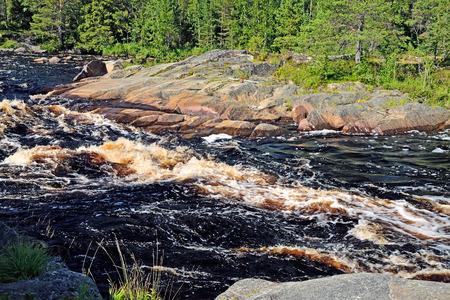 threshold: Threshold Morskoj on Pongoma river. Northern Karelia, Russia Stock Photo