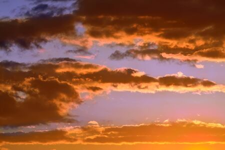 unaffected: Heavenly landscape with dramatic crimson sunset clouds