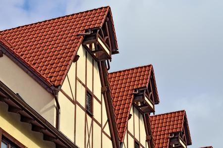 roof framing: Half-timbered architecture. Fish village, Kaliningrad, Russia Stock Photo