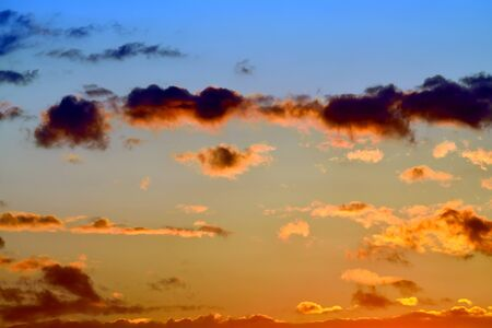 sunset clouds: Heavenly landscape with dramatic crimson sunset clouds