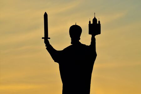 patron of europe: Silhouette of monument to Nicholas the Wonderworker. Kaliningrad, Russia
