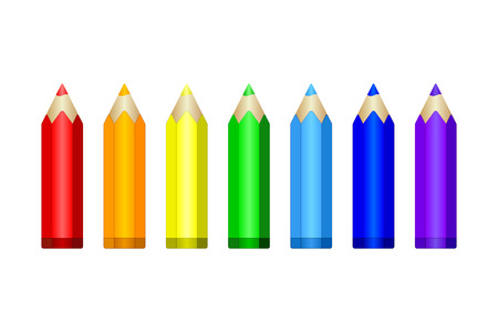 colors: Set of colored pencils in rainbow colors.