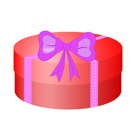 red gift box: Round red gift box with bow. Illustration