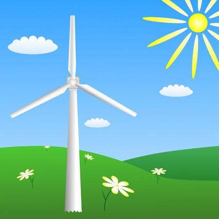 impeller: Wind turbine on sunny meadow.