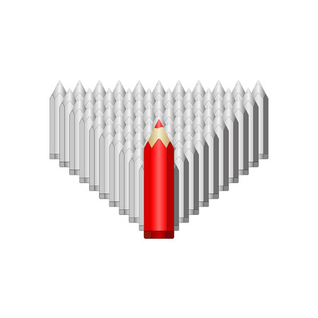 Red pencil leads gray. Illustration