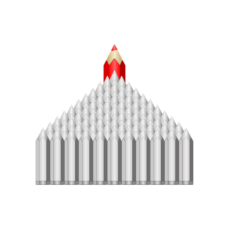 Red pencil commanded gray. Illustration