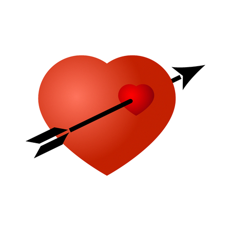 punched through: Black arrow broke through the red heart.