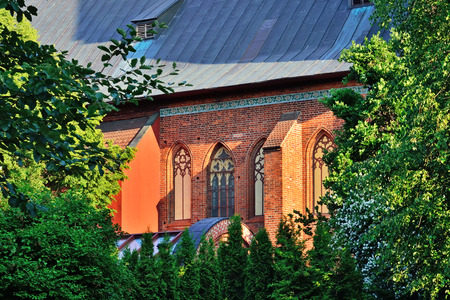 Wall of Koenigsberg Cathedral on a summer evening. Kaliningrad, Russia
