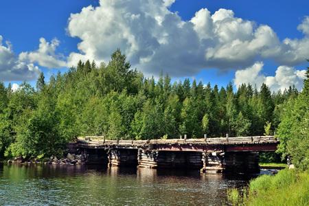 The bridge over the river Chirko-Kem. Karelia, Russia