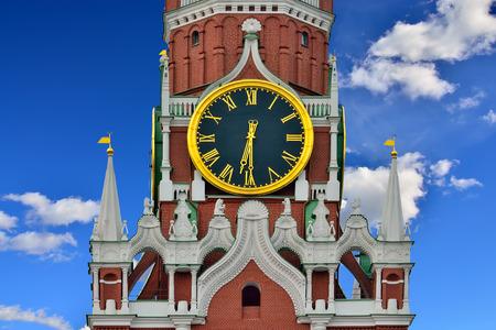 Spasskaya Tower of the Moscow Kremlin closeup. Moscow, Russia Standard-Bild