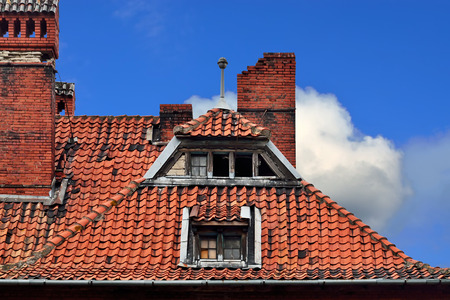 Old German red tile roof. Baltiysk, Pillau previously, Kaliningrad oblast, Russia Stock Photo