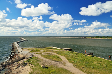 South Pier, schützende Küstenbefestigung. Baltiysk, Oblast Kaliningrad, Russland