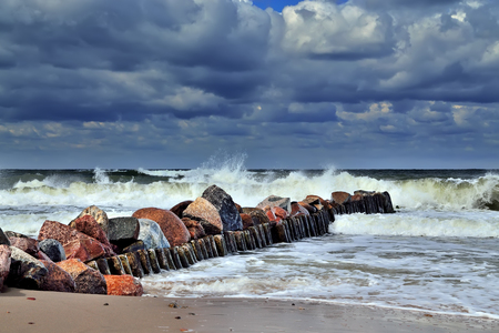 Beautiful storm Baltic sea in Sunny summers day
